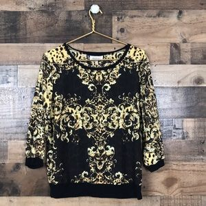 Jennifer Lopez Black and Golden Print Blouse L